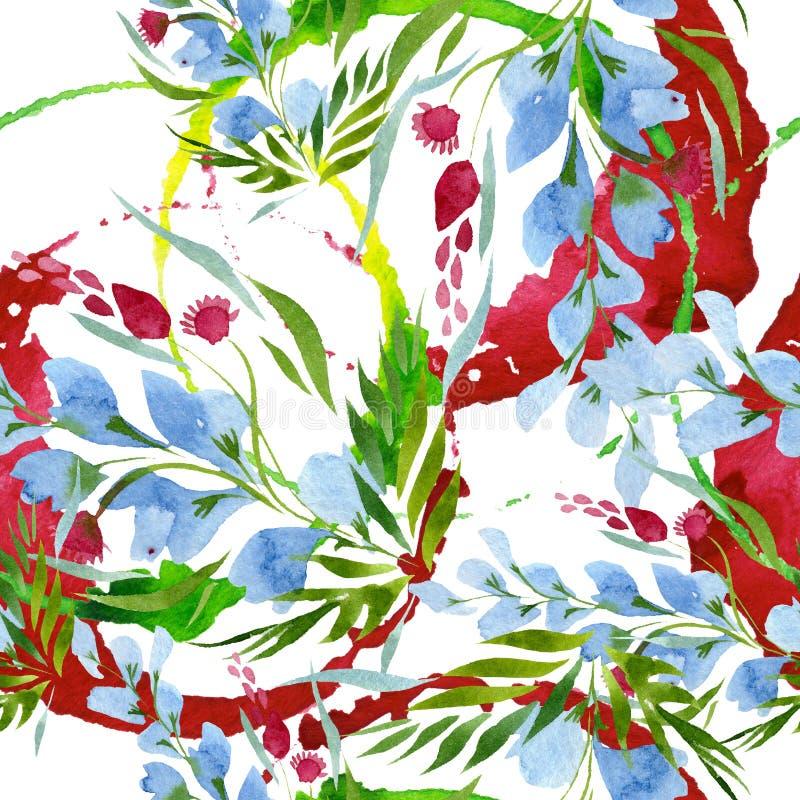 Peonia kwieciści botaniczni kwiaty Akwareli t?a ilustracji set Bezszwowy t?o wz?r royalty ilustracja