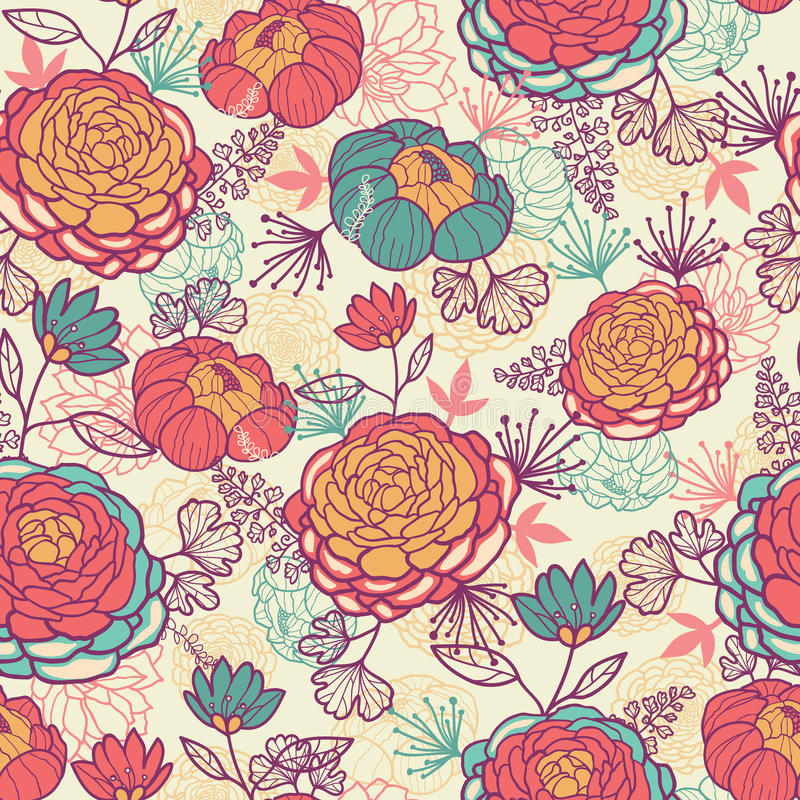 Peonia liści i kwiatów bezszwowy wzór