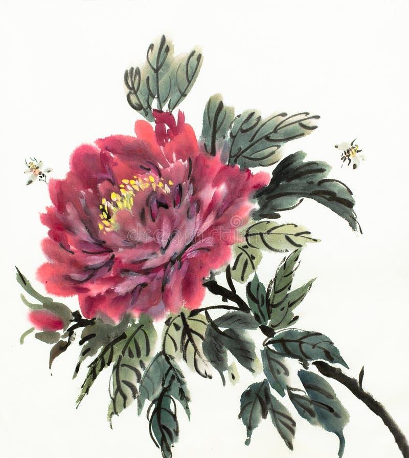 Peonia rossa di fioritura royalty illustrazione gratis