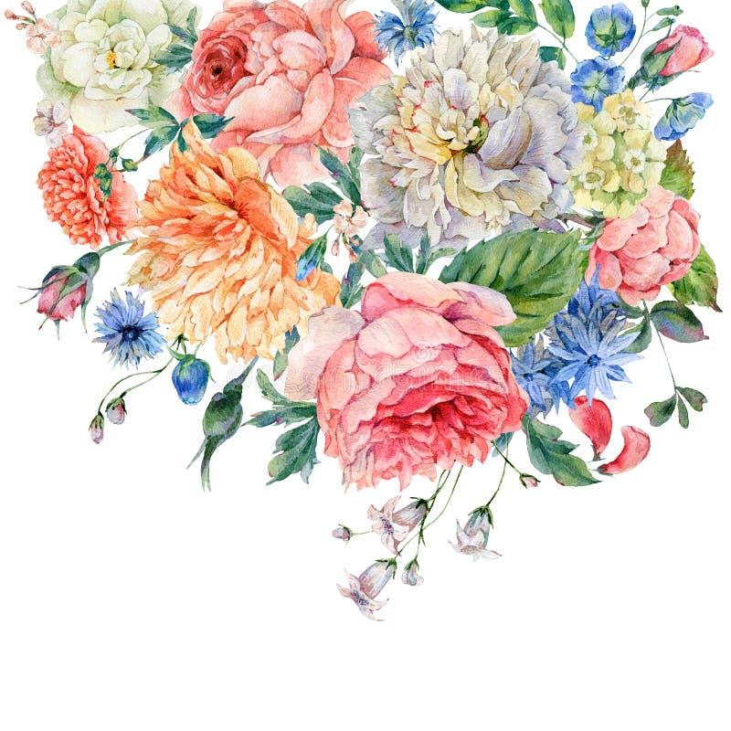 Peonie dell'acquerello, rose e fiori selvaggi illustrazione di stock