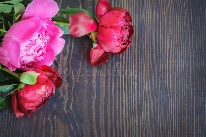 Peonie rosse e rosa su una tavola di legno Bello fondo floreale del fondo… con i fiori variopinti fotografia stock