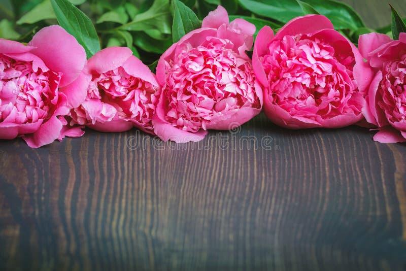 Peonie rosse e rosa su una tavola di legno Bello fondo floreale del fondo… con i fiori variopinti fotografie stock