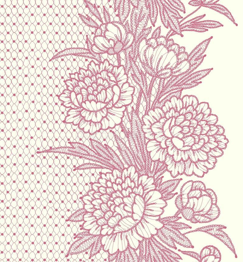 peonie Vertical koronkowy Bezszwowy wzór royalty ilustracja