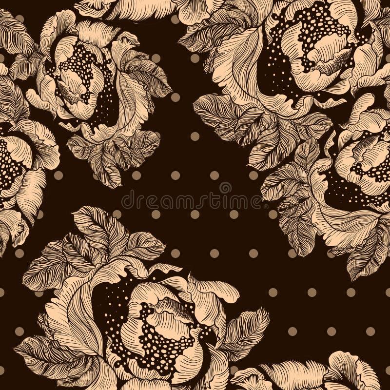 peonies Предпосылка вектора Абстрактные обои с флористическими мотивами картина безшовная обои иллюстрация вектора