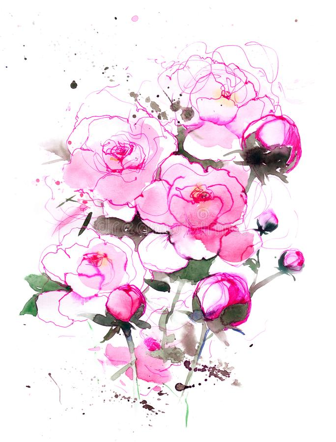 peonies royalty illustrazione gratis