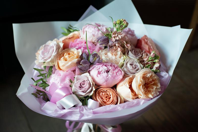 Peonies in a bouquet of flowers royalty free stock photos