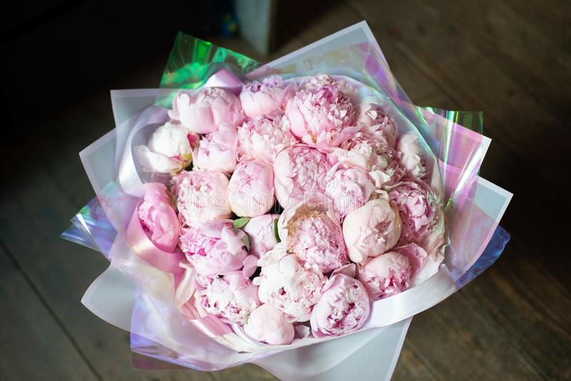 Peonies in a bouquet of flowers stock photos