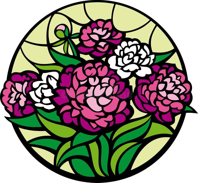 Peonies do vidro colorido. ilustração royalty free