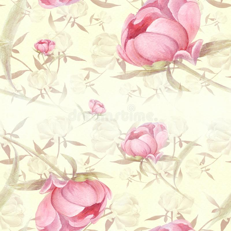 Peonies - flowers and leaves. Decorative composition on a watercolor background. Floral motifs. Seamless pattern. vector illustration