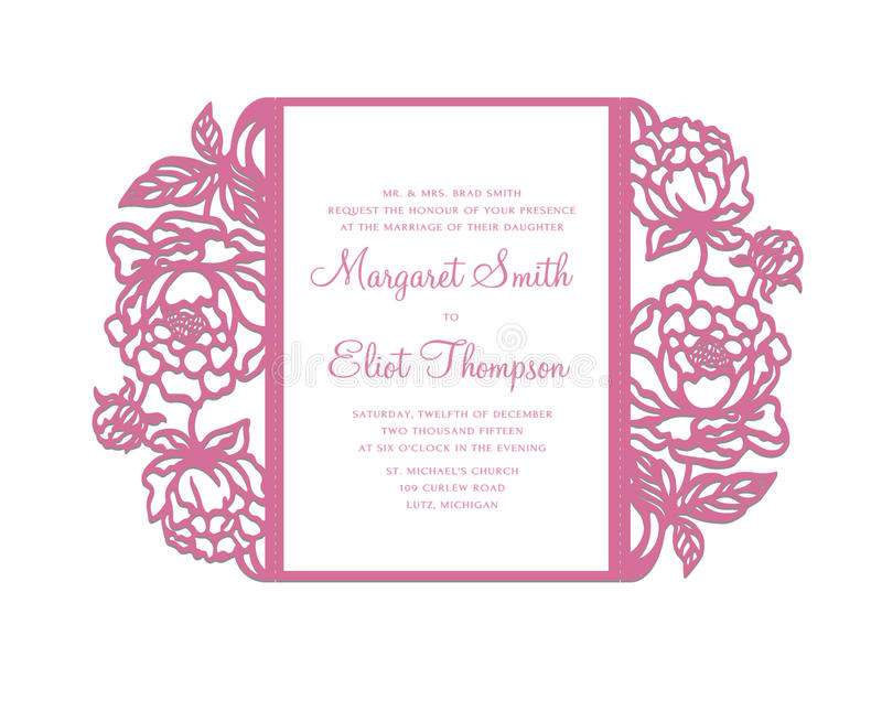 Peonies Laser Cut Invitation Template Stock Vector - Illustration of ...