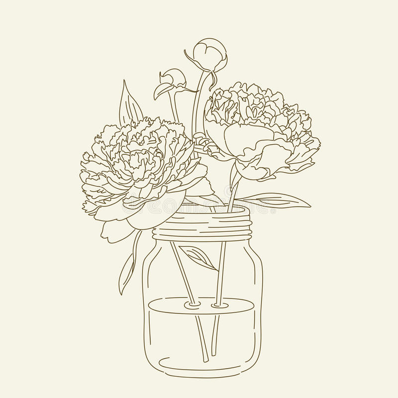 Peonies in a mason jar stock vector illustration of for Mason jar coloring page