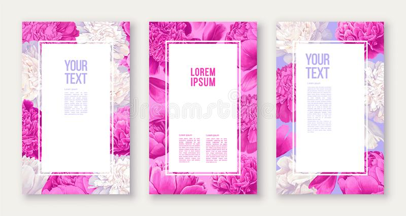 Set of floral banners with pink and white peonies flowers and petals. Hand drawn, vector templates for decoration, greeting card, stock illustration