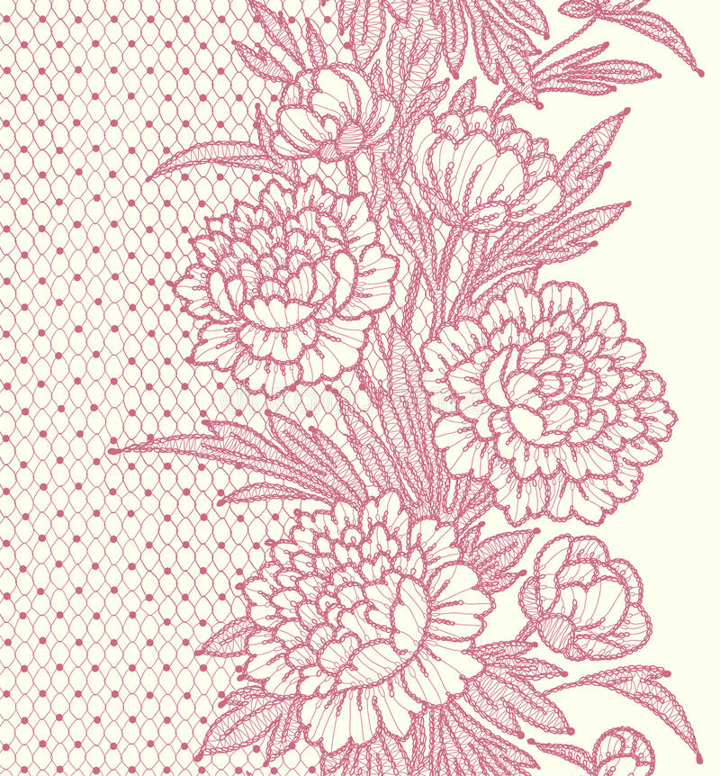 Free Peonies. Vertical Lace Seamless Pattern. Stock Image - 54317451