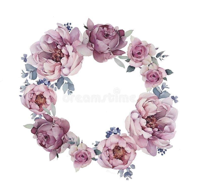 Peonlogo med blommor royaltyfri illustrationer