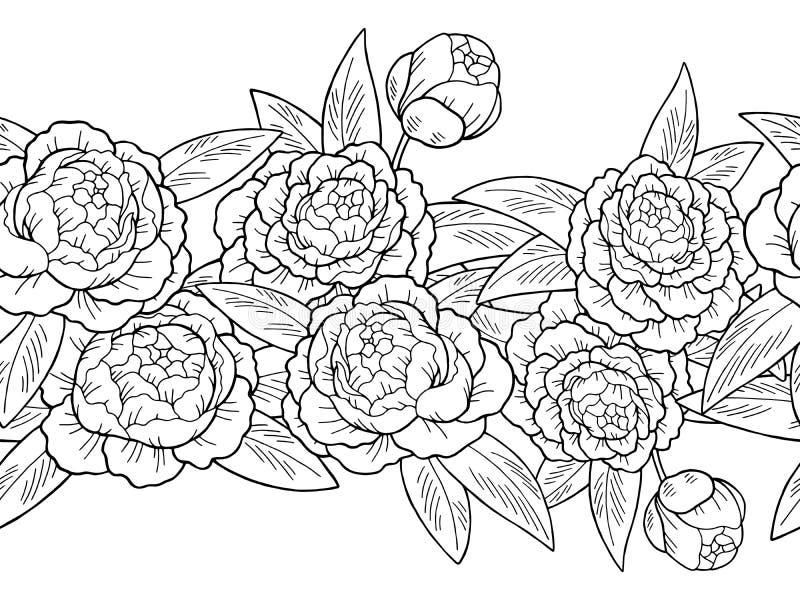 Peony λουλουδιών γραφικό διάνυσμα απεικόνισης υποβάθρου γιρλαντών σχεδίων σκίτσων μαύρο άσπρο άνευ ραφής απεικόνιση αποθεμάτων