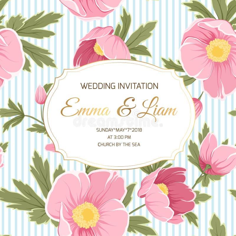 Peony λουλούδια anemone γαμήλιας πρόσκλησης hellebore ελεύθερη απεικόνιση δικαιώματος