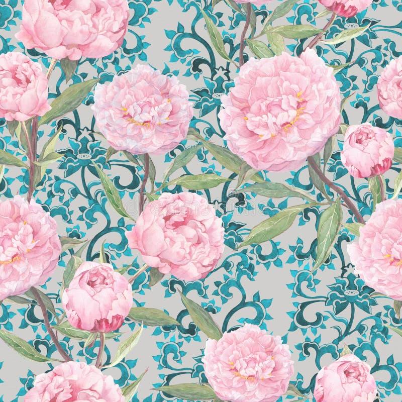peony ροζ λουλουδιών Εκλεκτής ποιότητας floral ασιατικό σχέδιο επανάληψης, ασιατικό διακοσμητικό ντεκόρ watercolor ελεύθερη απεικόνιση δικαιώματος