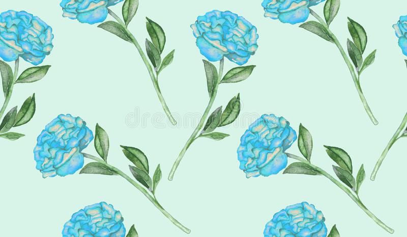 Peony blue flowers and leaves, hand painted watercolor illustration, seamless pattern. Design on soft blue background vector illustration