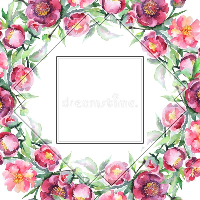 Peony bouquet floral botanical flowers. Watercolor background illustration set. Frame border ornament square. Peony bouquet floral botanical flowers. Wild stock illustration
