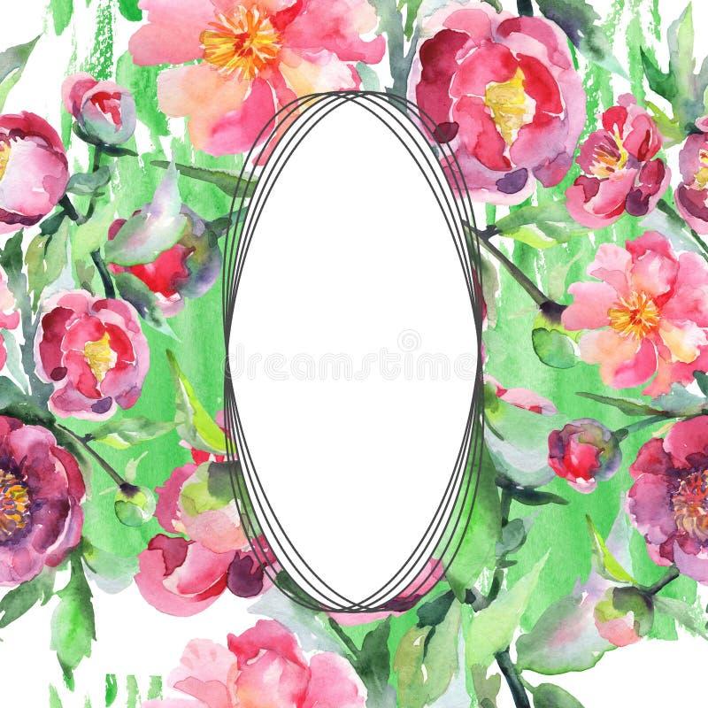 Peony bouquet floral botanical flowers. Watercolor background illustration set. Frame border ornament square. Peony bouquet floral botanical flowers. Wild vector illustration