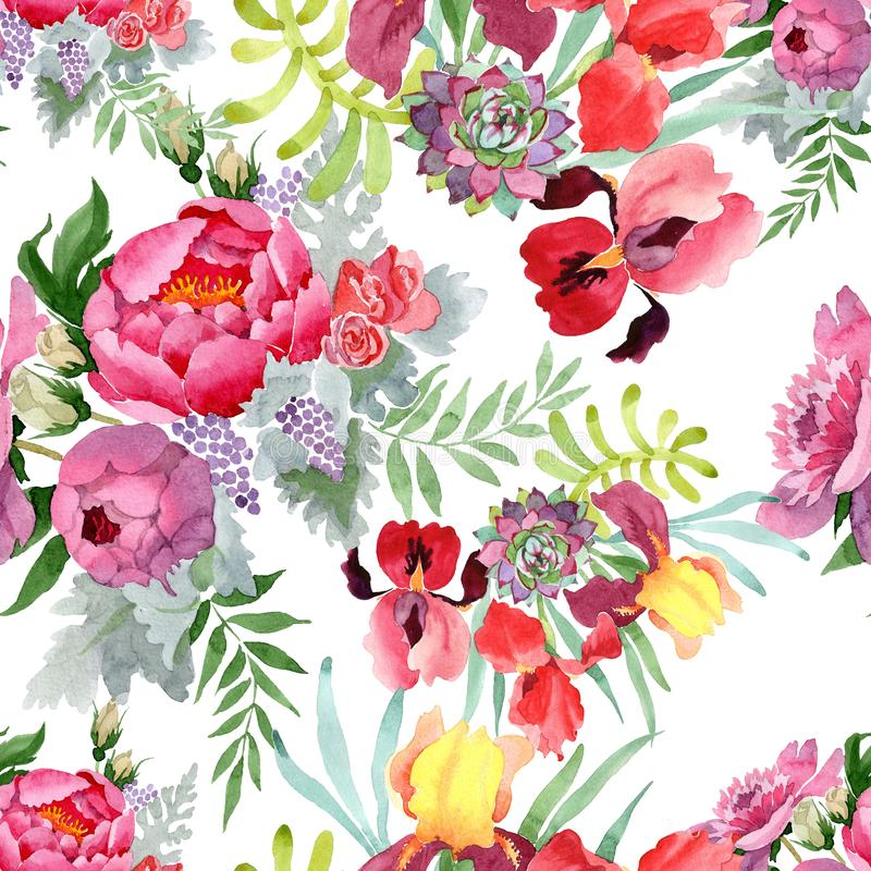 Peony bouquet floral botanical flowers. Watercolor background illustration set. Seamless background pattern. Peony bouquet floral botanical flowers. Wild spring vector illustration