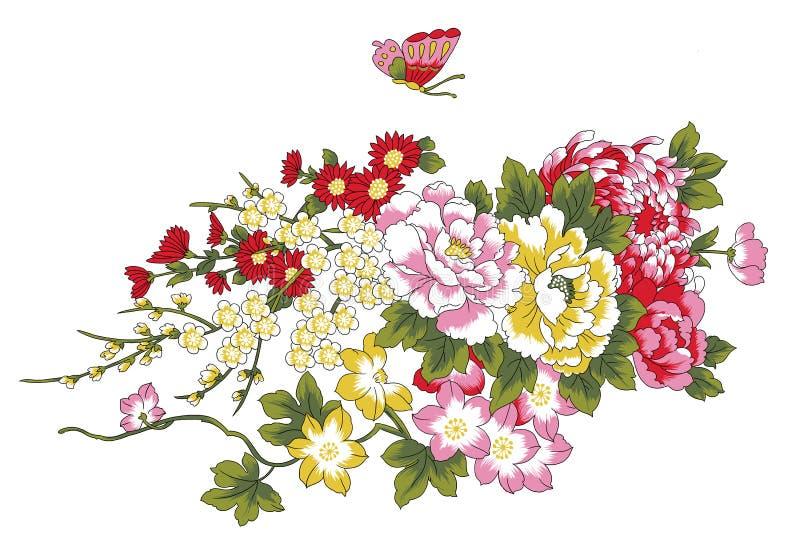 Peony, cereja e borboleta ilustração do vetor