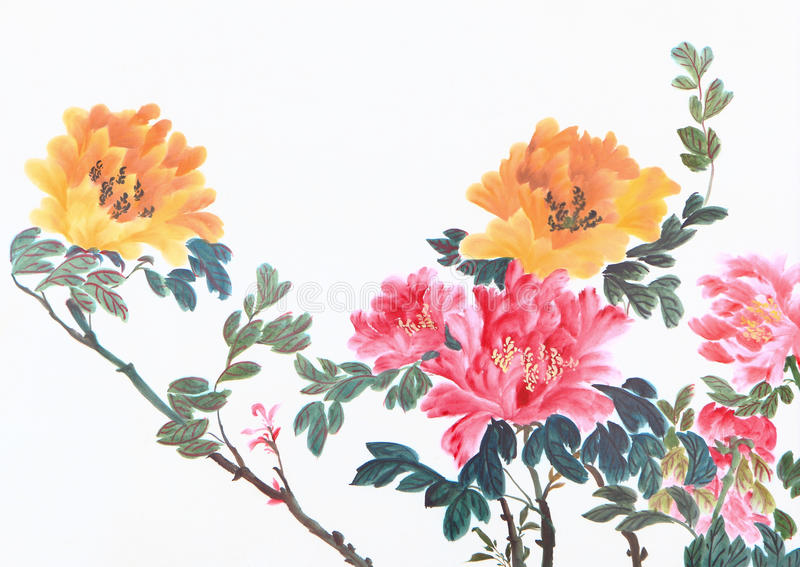 Peony flower. Traditional chinese ink and wash painting royalty free stock photo
