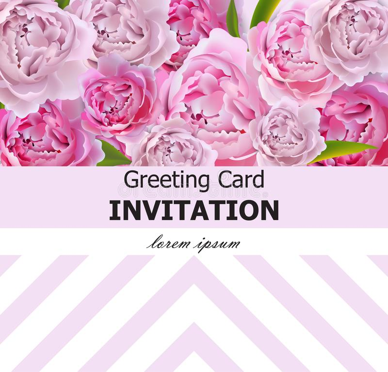 Peony flowers greeting card Vector. Pink flowers with abstract decor. Spring Summer background vector illustration