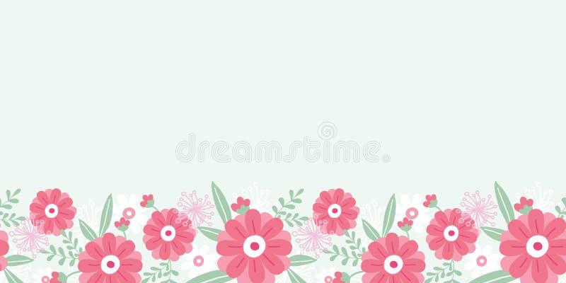 Peony flowers and leaves horizontal seamless