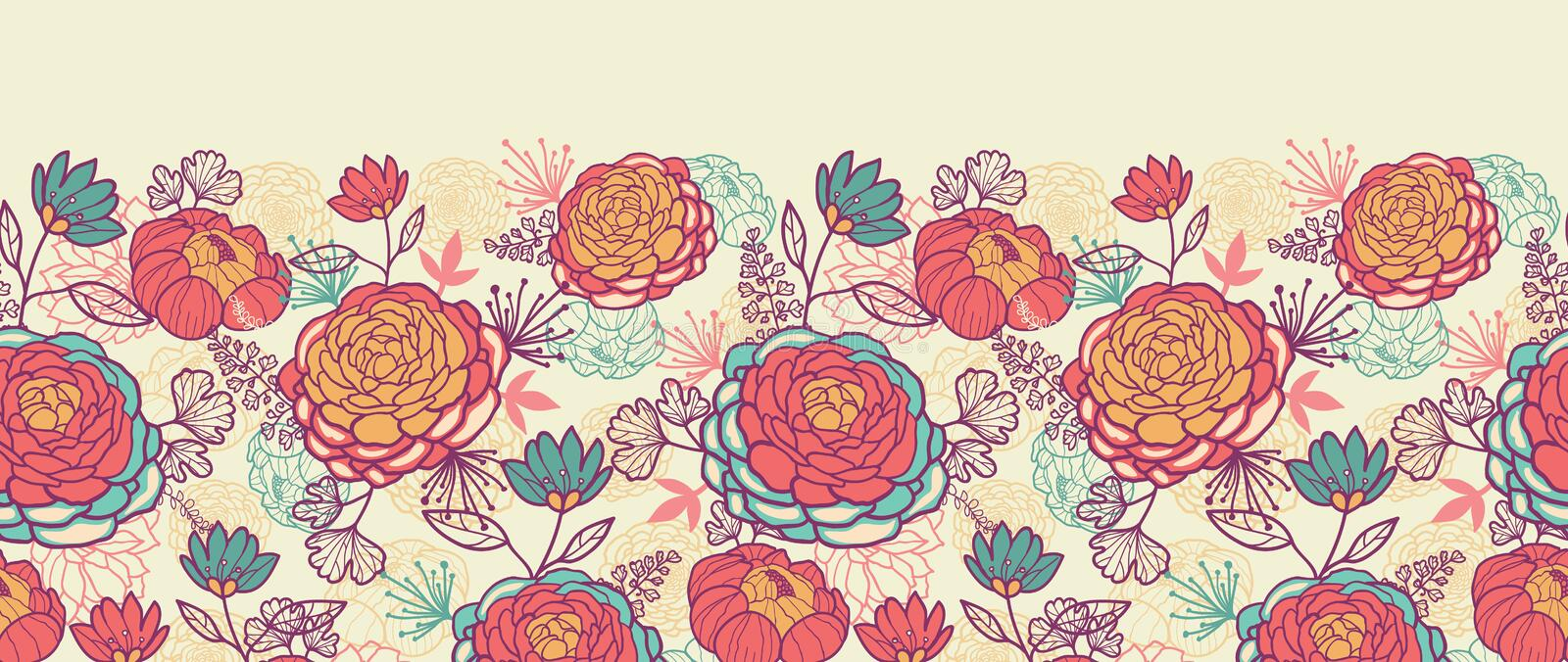 Download Peony Flowers And Leaves Horizontal Seamless Stock Vector - Illustration: 30992561