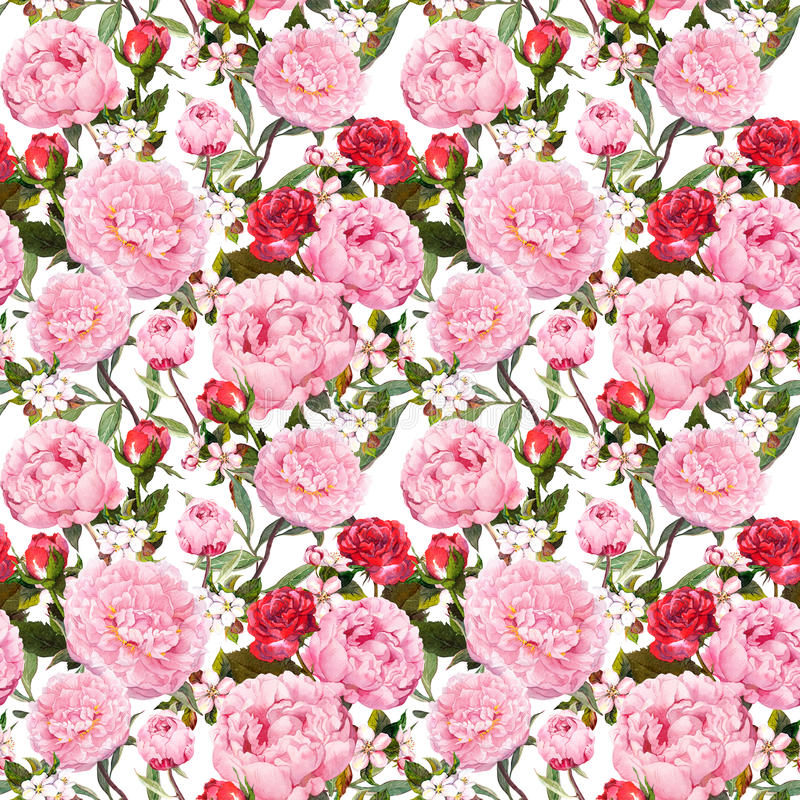 Download Peony Flowers And Red Roses. Seamless Floral Background. Watercolor Stock Photo - Image of color, hand: 91180038