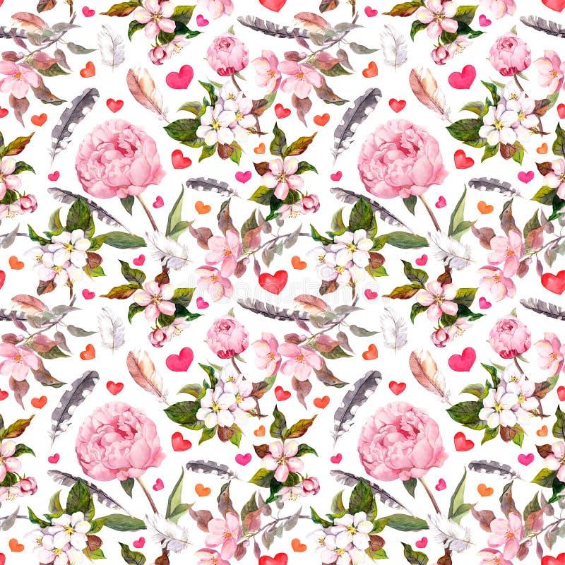 Free Peony Flowers, Sakura, Feathers. Seamless Floral Pattern. Watercolor Royalty Free Stock Photos - 85444228