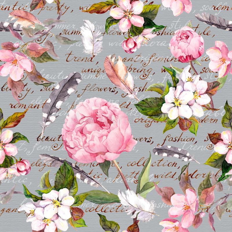 Peony flowers, sakura, feathers. Vintage seamless floral pattern with hand written letter. Watercolor. Seamless floral template with aquarelle painted apple and vector illustration