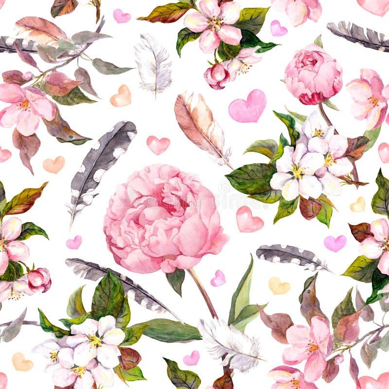 Peony flowers, sakura, feathers. Vintage seamless floral pattern. Watercolor vector illustration