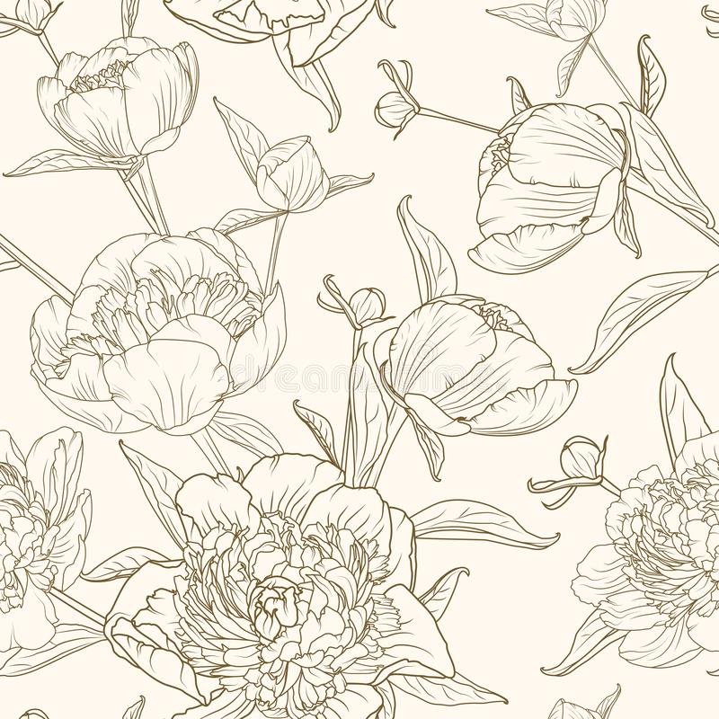 Peony flowers seamless pattern brown beige sepia vector illustration