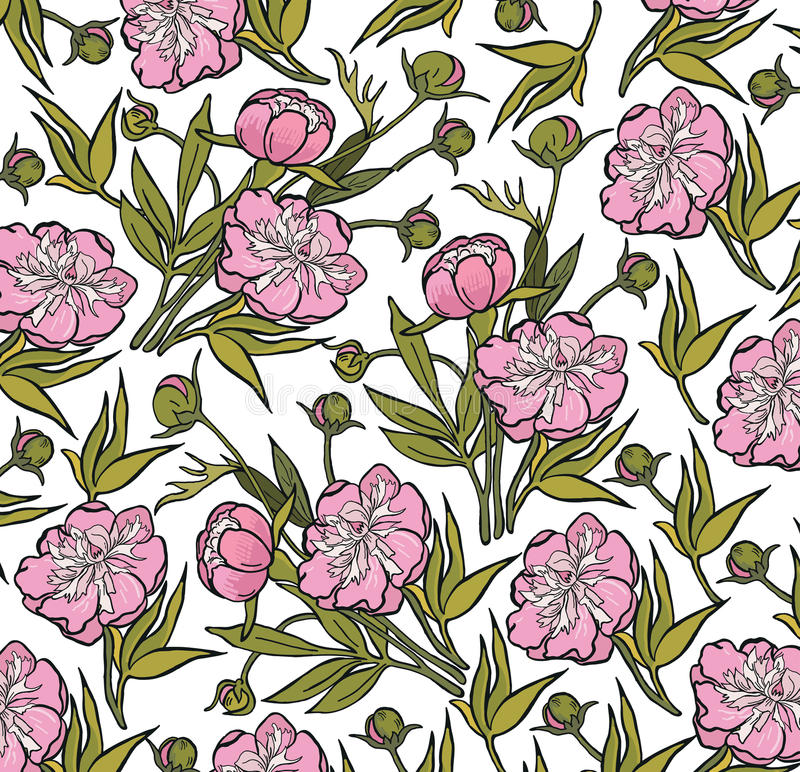 Download Peony Realistic Isolated Flowers Pattern Vintage Baroque Background Wallpaper Drawing Engraving