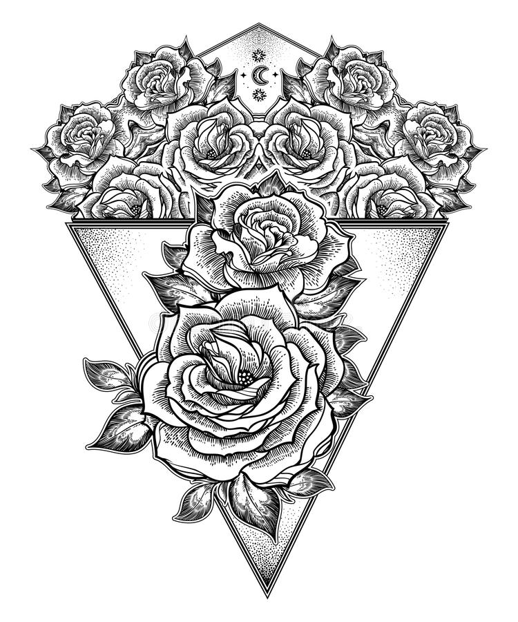 Peony or rose flower with sacred geometry frame. royalty free illustration