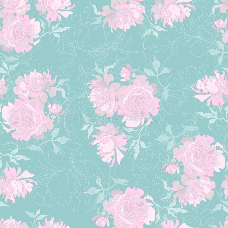 Download Peony seamless pattern stock vector. Image of pattern - 25323774