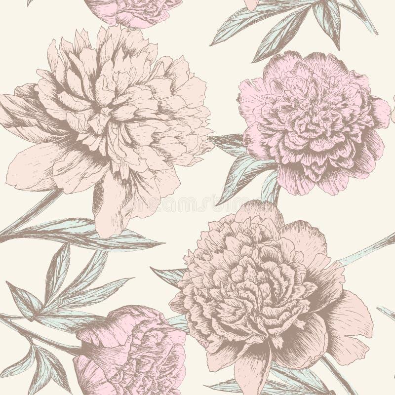 Peony sketch pattern stock illustration