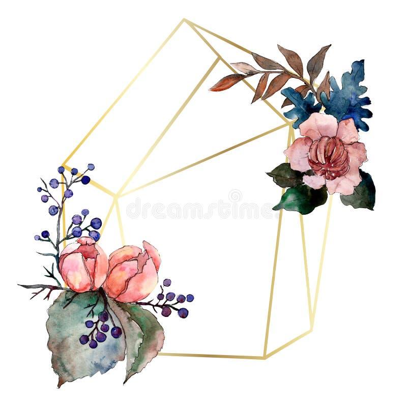 Peony and succulent bouquet floral flower. Watercolor background illustration set. Frame border ornament square. Peony and succulent bouquet floral botanical stock illustration