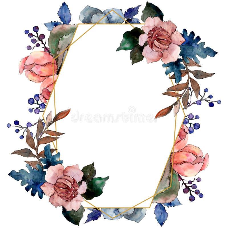 Peony and succulent bouquet floral flower. Watercolor background illustration set. Frame border ornament square. Peony and succulent bouquet floral botanical vector illustration