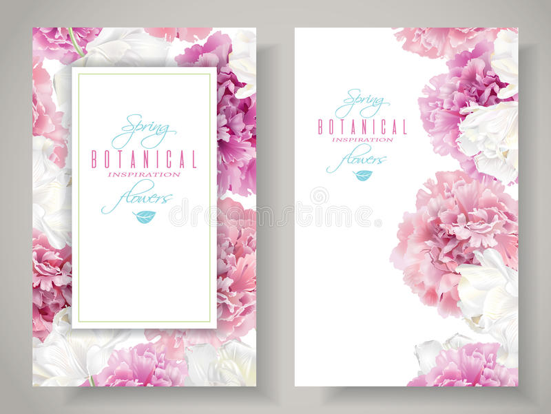 Peony tulip banners. Vector botanical banners with pink peony and white tulip flowers on white background. Romantic design for natural cosmetics, perfume, women vector illustration