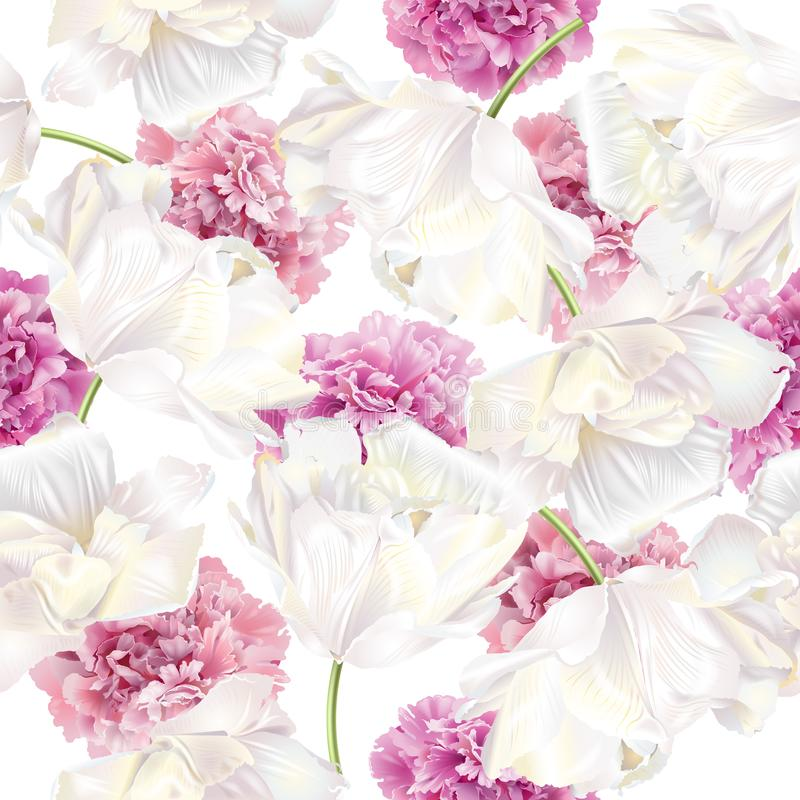 Peony tulip pattern. Vector seamless pattern with pink peony and white tulip flowers on white background. Romantic background design for natural cosmetics vector illustration