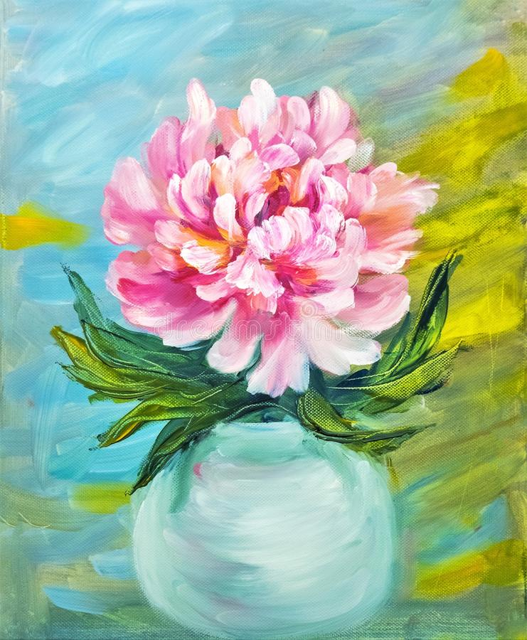 Peony in vase. Oil painting on canvas stock illustration
