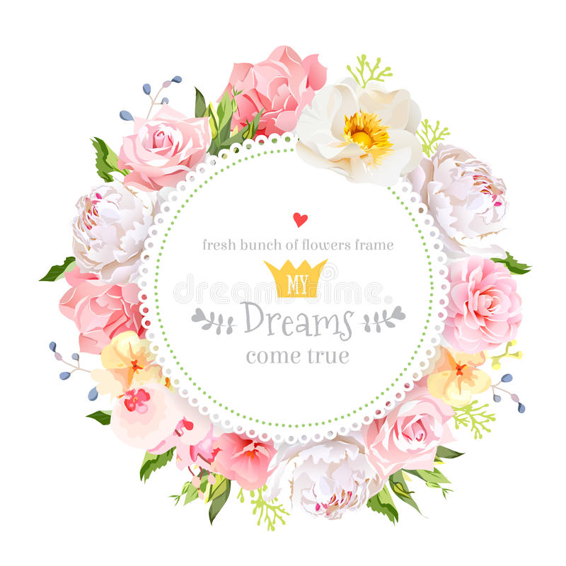 Peony, wild rose, orchid, carnation, camellia, hydrangea, blue berries and green leaves vector design round card stock illustration