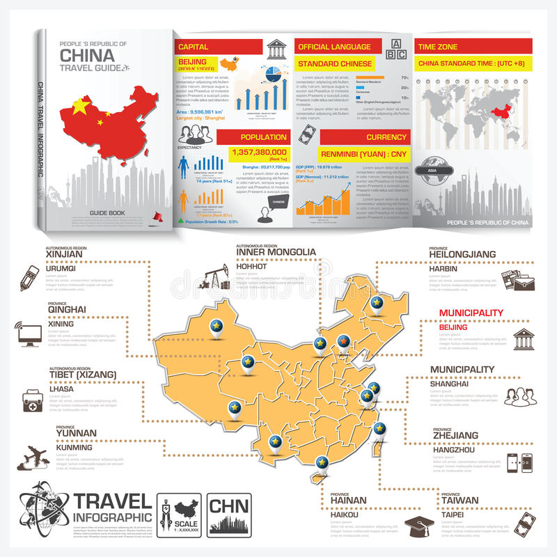 People 's Republic Of China Travel Guide Book Business Infographic With Map. Vector Design Template stock illustration