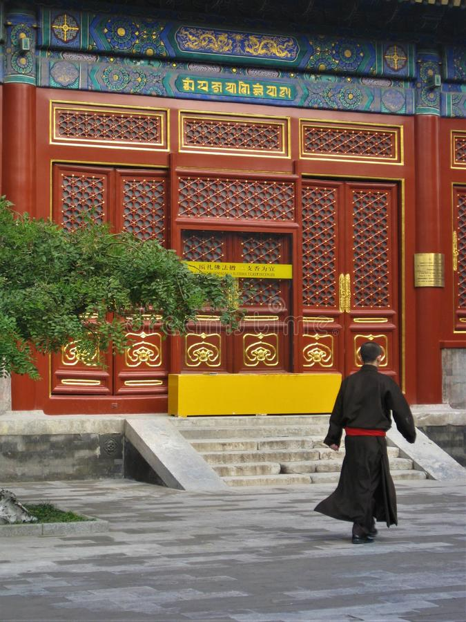 Monk in a temple in Beijing, China royalty free stock photography