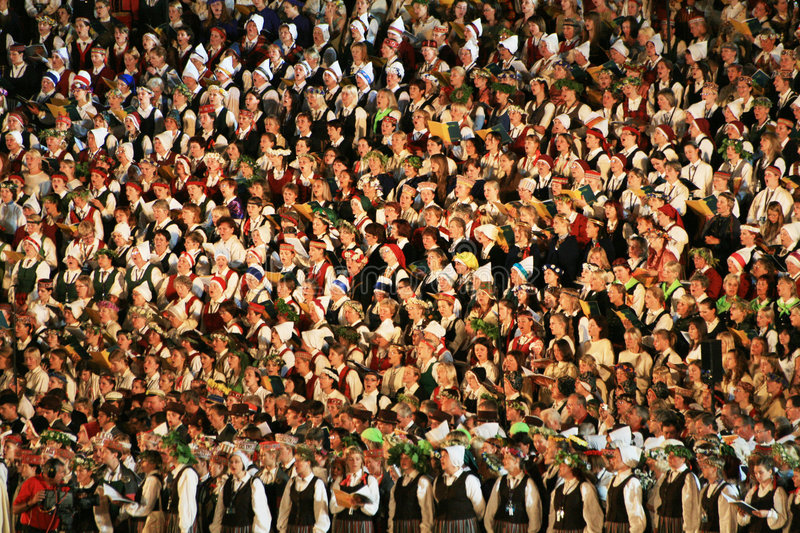 People. Latvian Nationwide Song and Dance Celebration in Riga 2008 5.-12. July Latvia royalty free stock photos