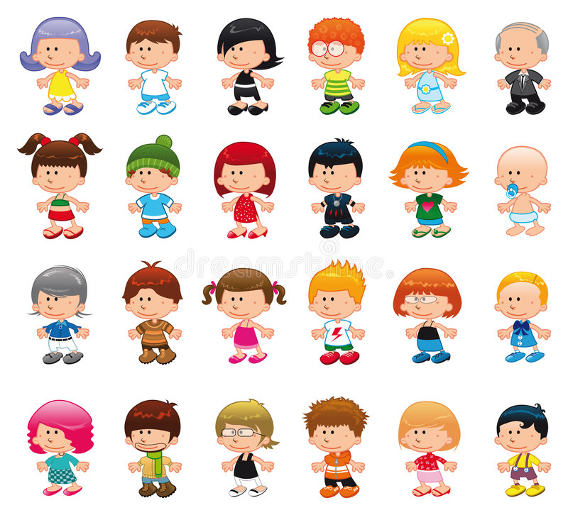 People. Set of funny boy and girls. Vector illustrations