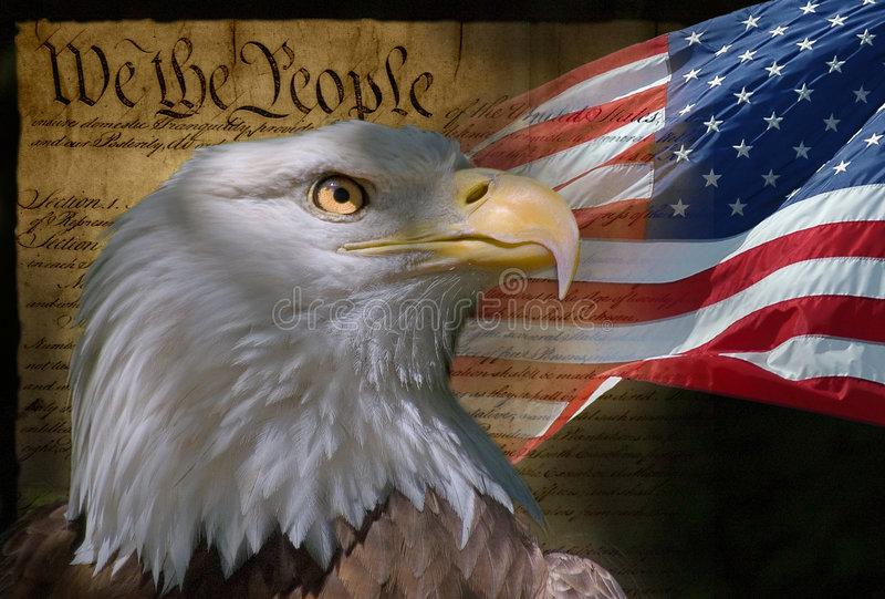 We The People. U. S. Flag and head of bald eagle with Constitution on background